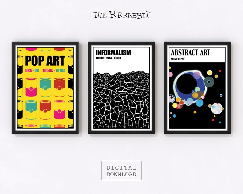 Art Movements 3 Printable Set Posters  Avant-Garde Posters image 0