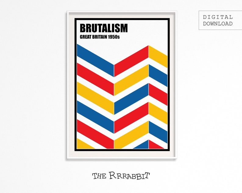 BRUTALISM Printable Poster WHITE  Brutalist architecture  image 0