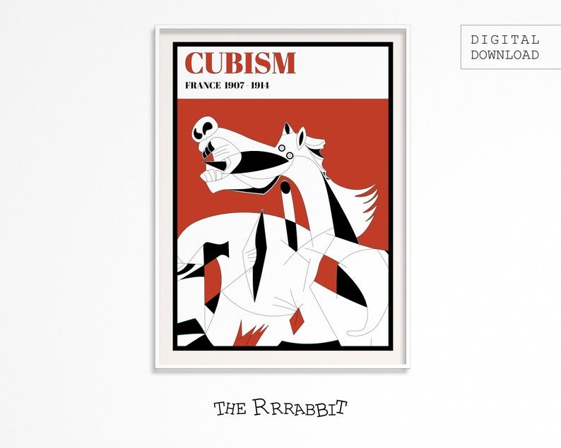 CUBISM ART Printable Poster Red  Art Movement Poster  image 0