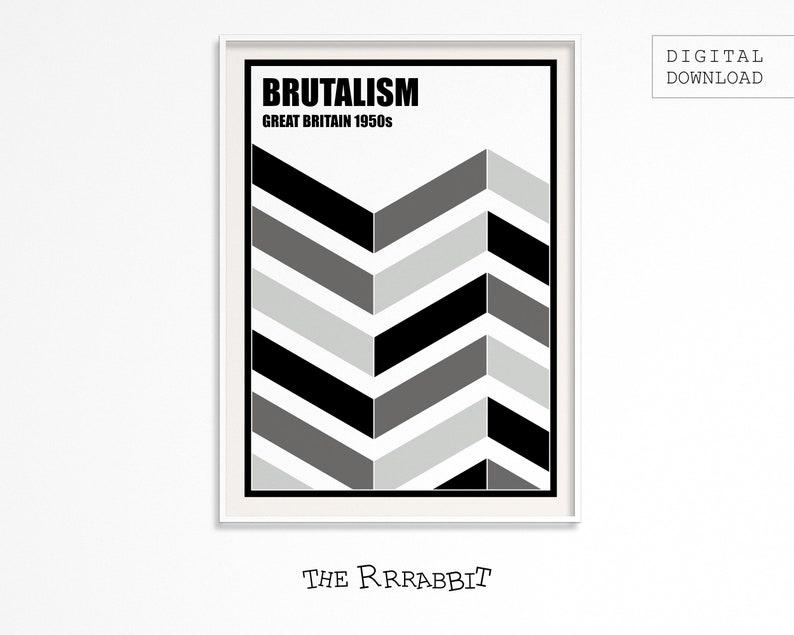 BRUTALISM Printable Poster BLACK  Brutalist architecture  image 0