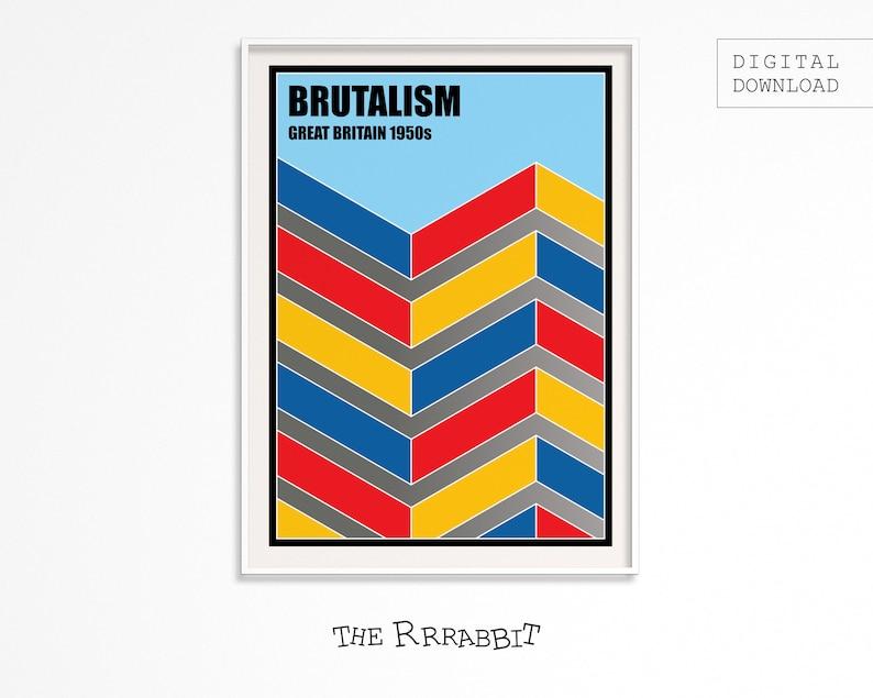 BRUTALISM ART Printable Poster  Full Colour Version  Art image 0