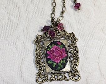 Teal Pendant Purple metallic swirl framed in bronze roses