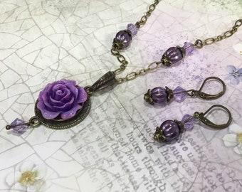 Purple Rose Jewellery Set