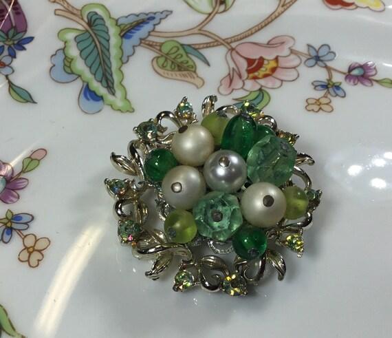 Vintage Coro brooch, silver tone green rhinestone… - image 1