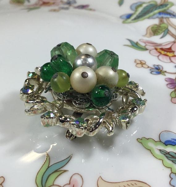 Vintage Coro brooch, silver tone green rhinestone… - image 6