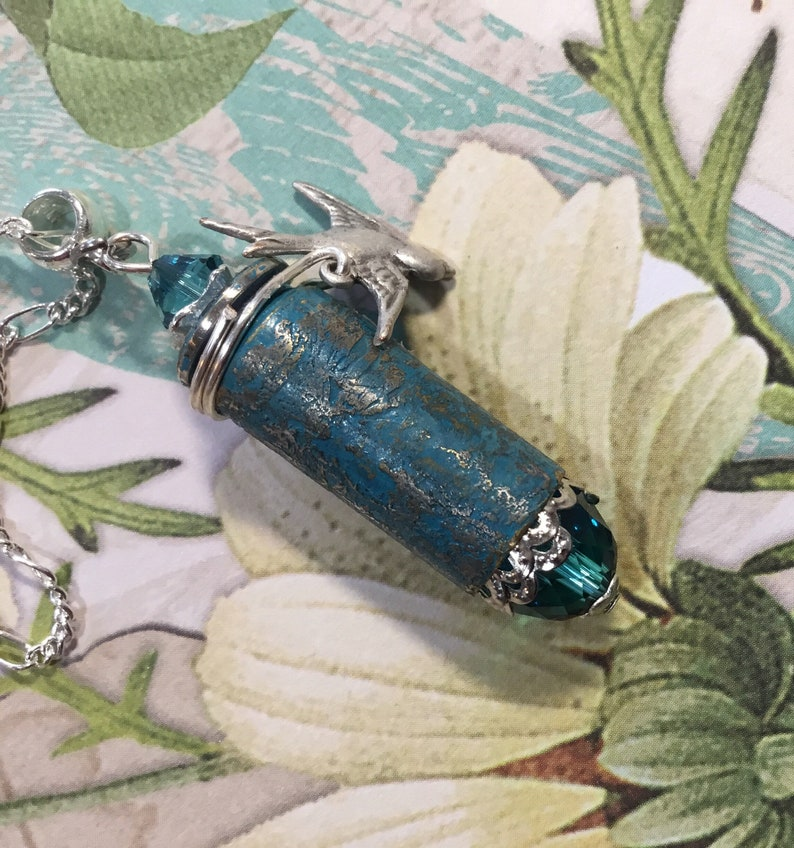 little silver bird charm Turquoise crystal silver 10mm bullet pendant necklace Aquateal etched and painted bullet with turquoise crystals