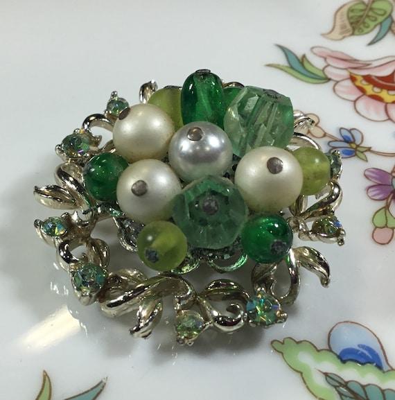 Vintage Coro brooch, silver tone green rhinestone… - image 3