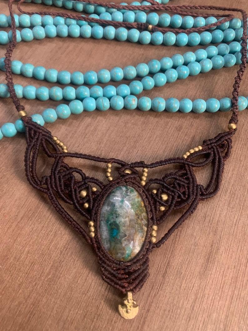 Crysocolla stone boho necklace hippie necklace chick necklace healing necklace meditation stone macrame necklace