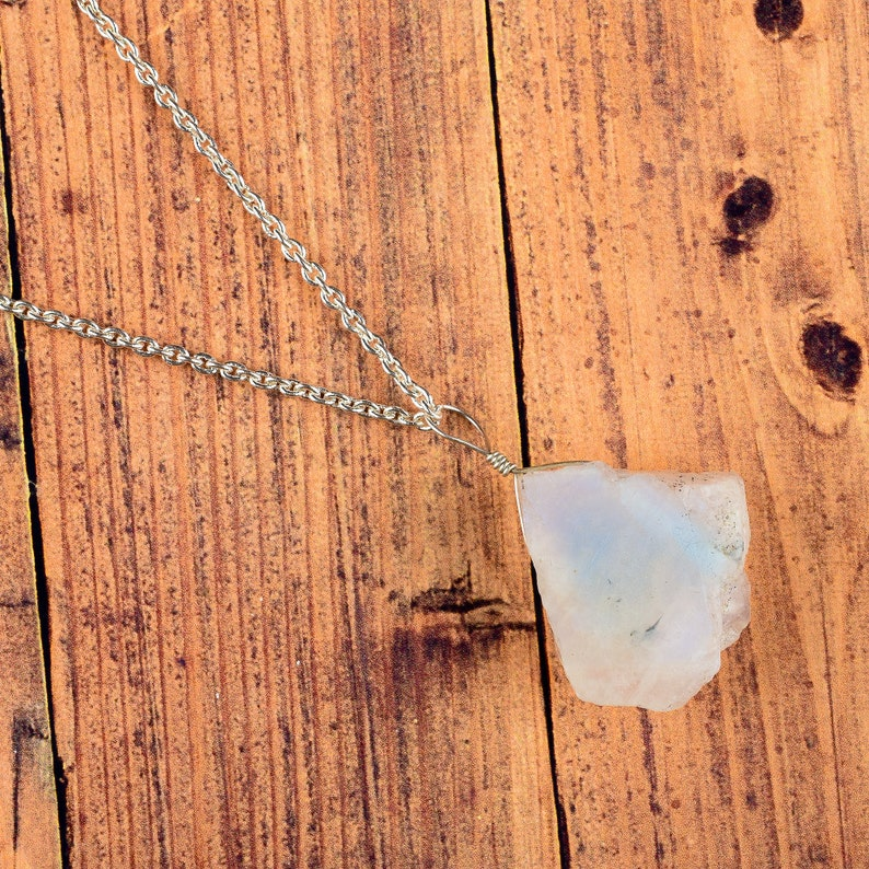 Gift For Her Blue Fire Rainbow Raw Moonstone Necklace Natural Moonstone Necklace Mother\u2019s Day Gifts