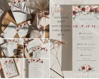 Vintage Floral Wedding Invitation Bundle, Editable in Canva, Wedding Suite, Printable Wedding Bundle, RSVP, Menu, Table, Save the Date