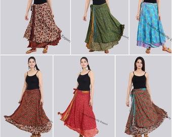 100/% Silk Long Skirt Gypsy Hippie Boho Indian Double Layer Skirt Up cycled Flamenco Wrap Skirt Indian Silk Skirt Handmade skirt duble L