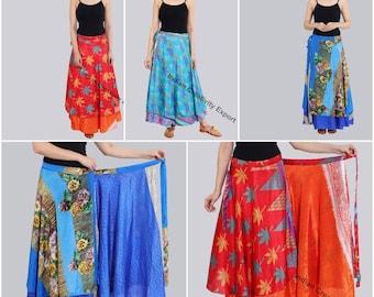 Indian Sari Silk Short Wrap Skirt Orange Blue Printed Wrap Skirts For Womens One Size Recycled Sari Skirt