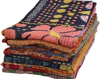 Wholesale Lot Vintage Kantha Quilt, Sari Coverlet, Sundance Kantha Throw Recycle Fabric