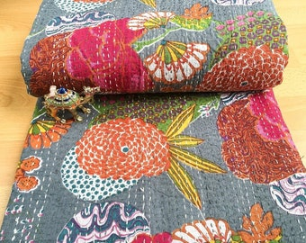 Large Selection : Cotton Kantha Indian Quilts Throw Bedspread Handmade Bedding Blanket Hippie Twin Size Floral Coverlets Boho Hand Quilts