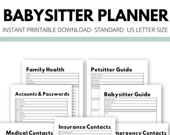 Babysitter And Family Planner | Black and White