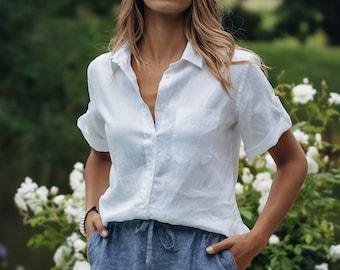 Women Linen Blouse  Polka Dot Linen Blouse with Buttons  White Linen Blouse Boho Style