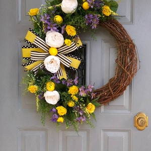 Rustic Decor Yellow and Black Front Door Decor Everyday Decor Home is Where the Heart is Wreath Everyday Wreath Grapevine Wreath