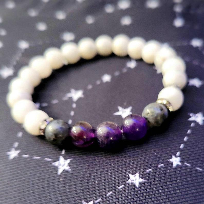 High-quality AAA Gemstone Balancing Jewelry Moonstone and Labradorite Healing Chakra Bracelet Amethyst