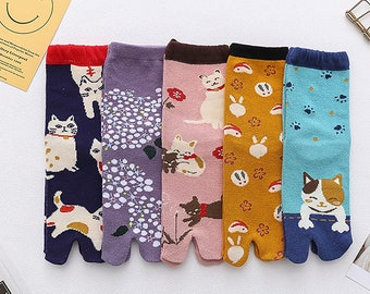 Japanese Style Women's Split-Toe Cotton Socks, Cute Animal Socks, Woman Socks, Autumn And Winter Socks, Valentines Day Birthday Gift For Her