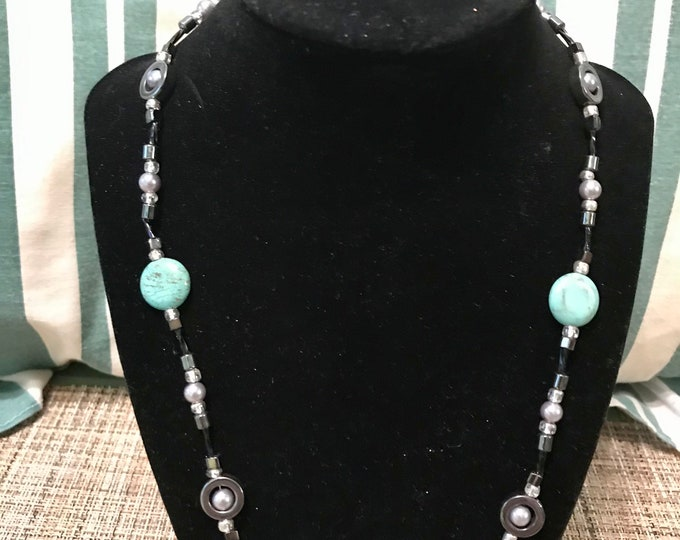 black and silver necklace set women\u2019s jewelry gift for mom women\u2019s gift bracelet Turquoise necklace wife, jewelry gift jewelry set
