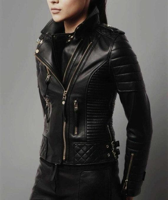 Womens leather jacket - Real leather jacket - Leather biker jacket - Motorcycle jacket - Rocker jacket - Spring jacket - Short jacket