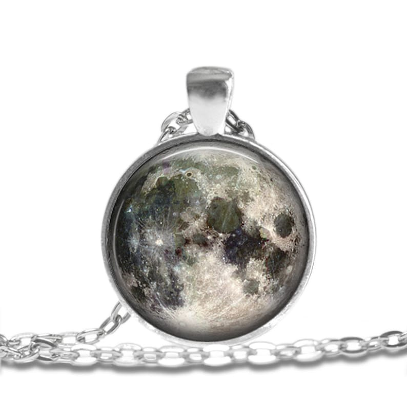 Necklace Jewelry Art Pendant in SILVER BEZEL with Link Chain Included APN87 Space MOON