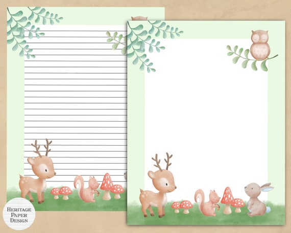 Woodland Animals Printable Stationery  Print easily at home
