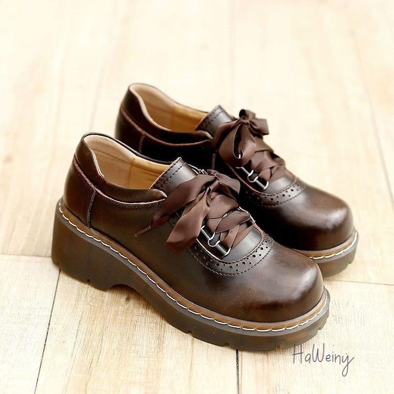 70s Shoes, Platforms, Boots, Heels | 1970s Shoes     Women Ribbon Lace Up Oxford Shoes Genuine Split Leather Shoes New Arrival Retro Ladies Flats Shoes $145.99 AT vintagedancer.com