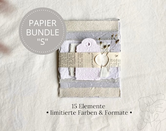 """Handmade handmade paper bundle size """"S"""" in limited edition, consisting of 15 elements"""