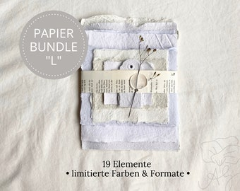 """Handmade handmade paper bundle size """"L"""" in limited edition, consisting of 19 elements"""