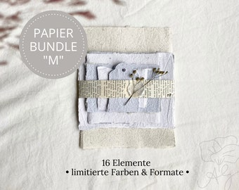 """Handmade handmade paper bundle size """"M"""" in limited edition, consisting of 16 elements"""