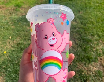 Handmade Care Bear Cheer Bear Frosted Venti Starbucks inspired tumbler coated in a layer of epoxy resin.