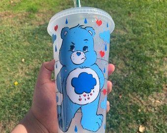 Handmade Care Bear Grumpy Bear Frosted Venti Starbucks inspired tumbler coated in a layer of epoxy resin.