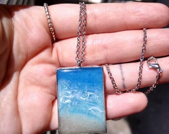 Surfer necklace Blue ocean pendant made from reclaimed wood and resin Wave necklace