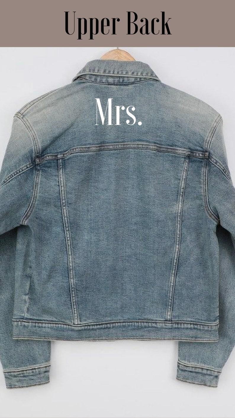 MOB Reception Attire MIL Gift for Bride Long Rhinestone Fringe Jacket Custom Jean Jacket Personalized Denim Jacket Bridesmaids