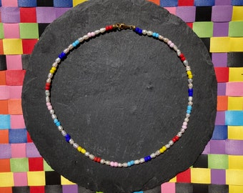 Freshwater pearl /'AGAPI/' necklace turquoise coloured stone heart colourful blue Miyuki glass beads VivinouJewellery Vivinou