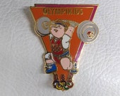Weigh Lifting Olympikids Los Angeles 1984 United States US Olympic Summer Games Antique Pinback Vintage weightlifting California sport kid