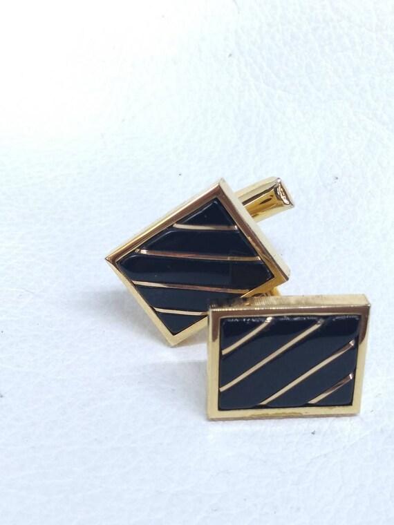 Wedding Formal Anson 12k Gold Filled Cufflinks Jade Green Scarab Cuff Links Black Tie Menswear Gift for Groomsmen