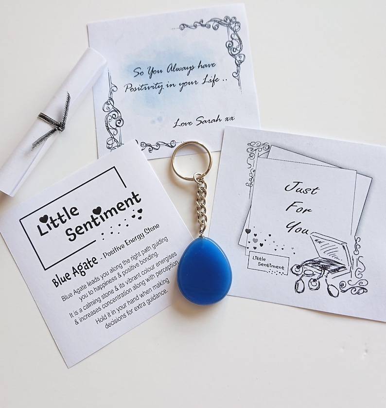 Positive Energy Stone Keyring /& Personal MessageGift for FriendBlue Agate Crystal GiftThroatBrow ChakraPersonalised GiftLetterbox Gift