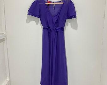 Midi Dress / Monsoon / Purple / Crape / Tie Waist / Modern Vintage / Size 8 / EU 36