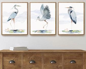 Great Blue Heron Watercolor Art Prints, Set of 3 Heron Birds, Coastal Decor, Tropical Wall Art, Beach House, Seabird Print Set, Nautical