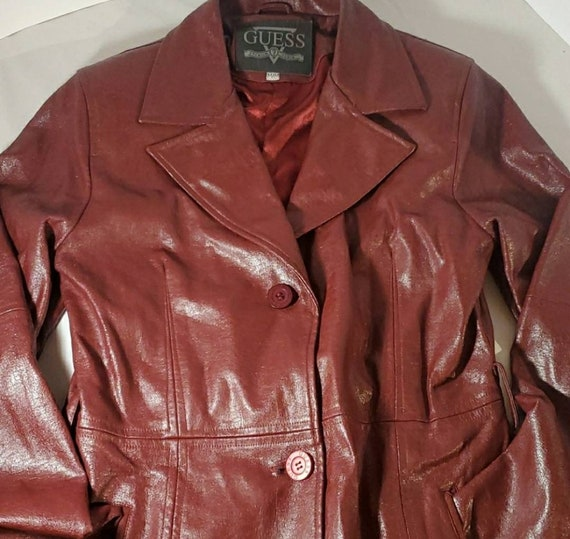 Guess Red Faux Leather Duster