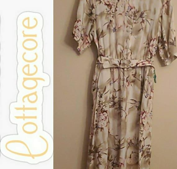 Vintage Cottagecore Floral Button Down Dress