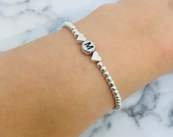 Hand Made Personalised | Beaded bracelet | Initial | Name | Heart | Elasticated Stretchy | Silver Bracelets | Great For a Small Gift