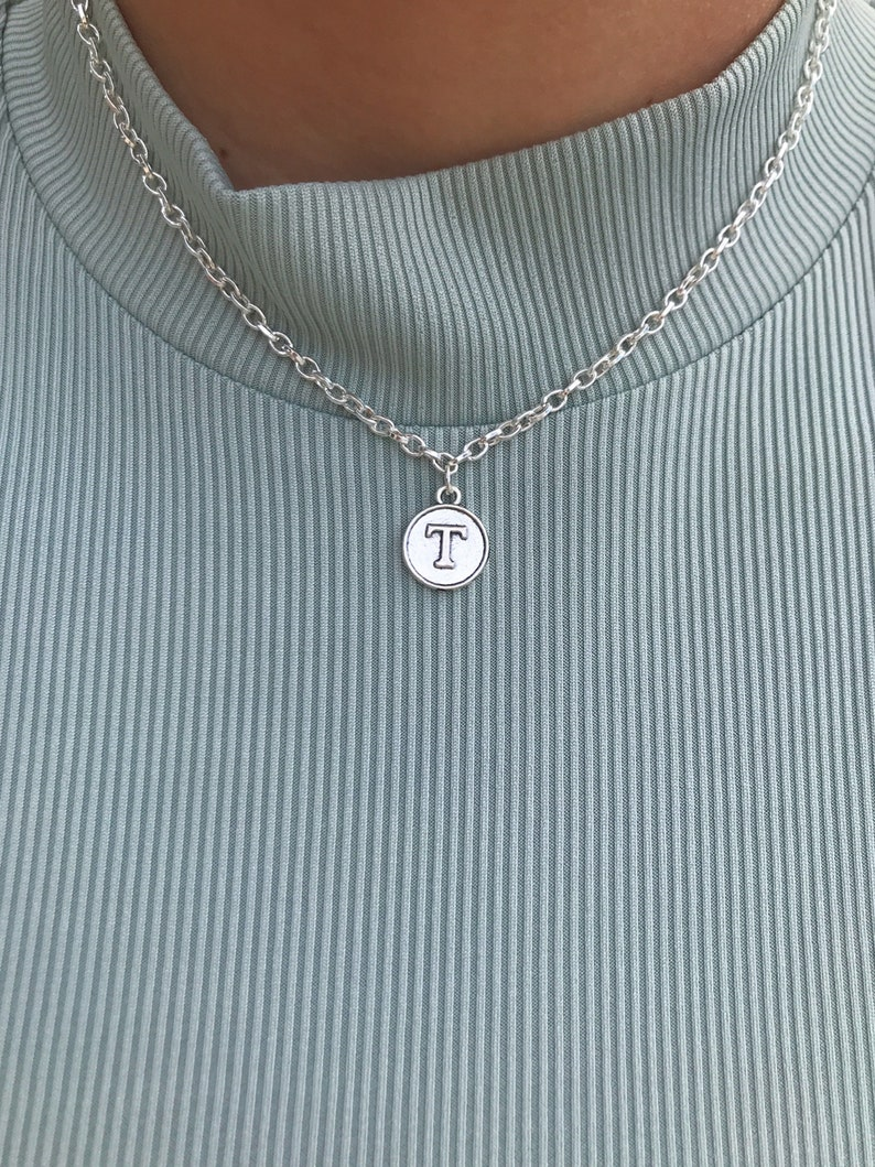 Gold disc choker-Coin initial pendant-Personalized monogram-Stacking Letter medallion-Vintage circle pendant-Rustic Medallion Nameplate