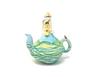 Blue Green Castle in the Clouds Landscape OOAK Whimsical Teapot Sculpture