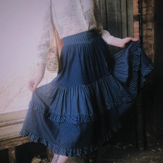 Calico Print Denim Gunne Sax Skirt