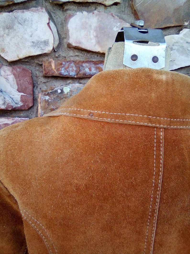 Soft Suede  Leather Jacket with Slanted Pockets and Matching Belt 1960/'s70/'s