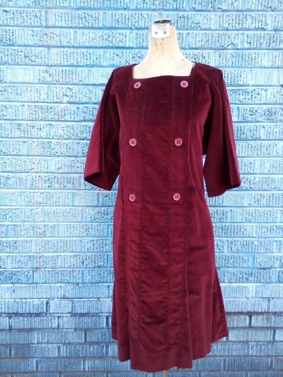 Burgundy Velvet 1960's XL Slip On Fashion Maternit