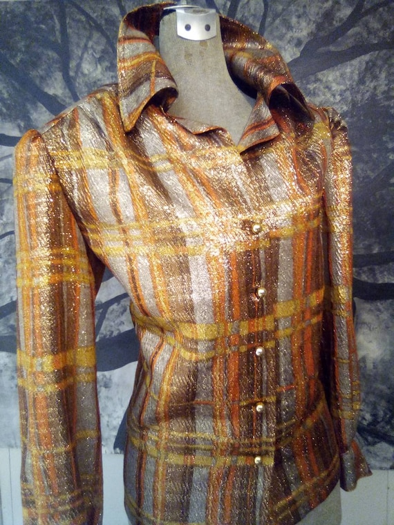 Sparkle Disco Blouse with Gold Buttons